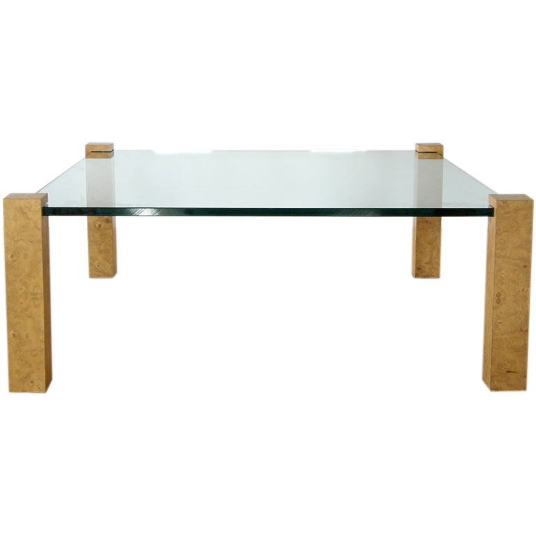 Burled Wood And Glass Coffee Table At 1stdibs
