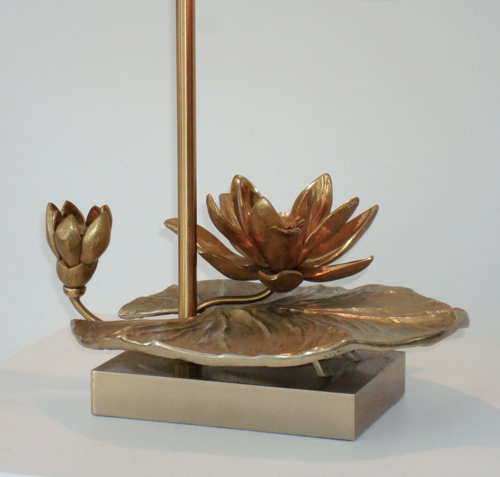 Table lamp by charles with lily pad and lotus flower at 1stdibs late 20th century table lamp by charles with lily pad and lotus flower for sale izmirmasajfo
