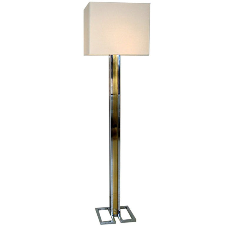 Willy Rizzo Chrome and Brass French Floor Lamp Geometric Base and Custom Shade