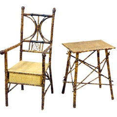 Bamboo Armchair and Side Table