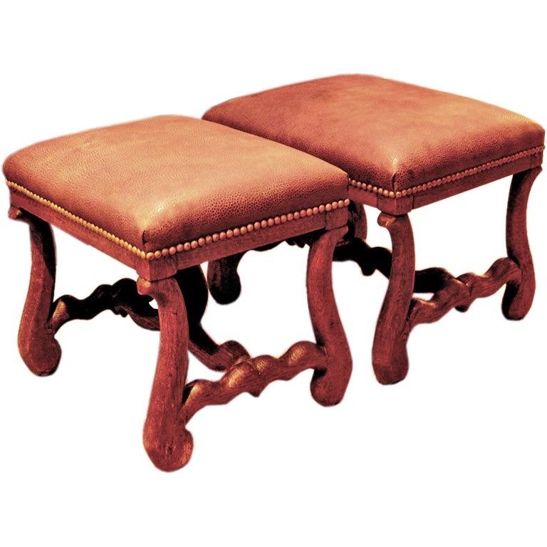 Two English 18th Century Style Stools With Leather