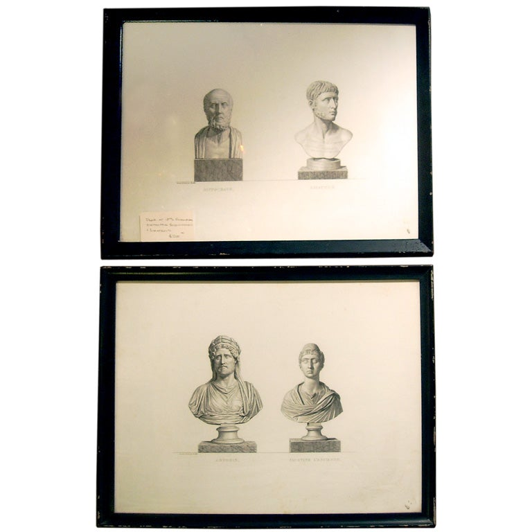 Pair of 18th Century Engravings of Busts, Great Neoclasical Pieces.