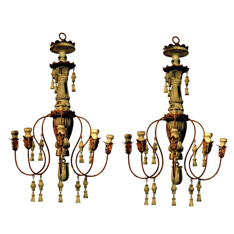 Italian Style Wall Sconces : Impressive Pair Of Italian Style Five Arm Wall Sconce at 1stdibs
