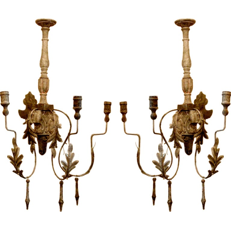 Italian Style Wall Sconces : One Pair Italian Style Three Arm Sconce at 1stdibs