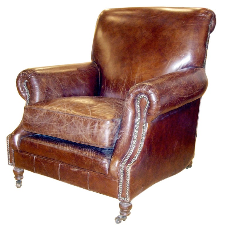 Hand Distressed Leather Chair In The English Style 1