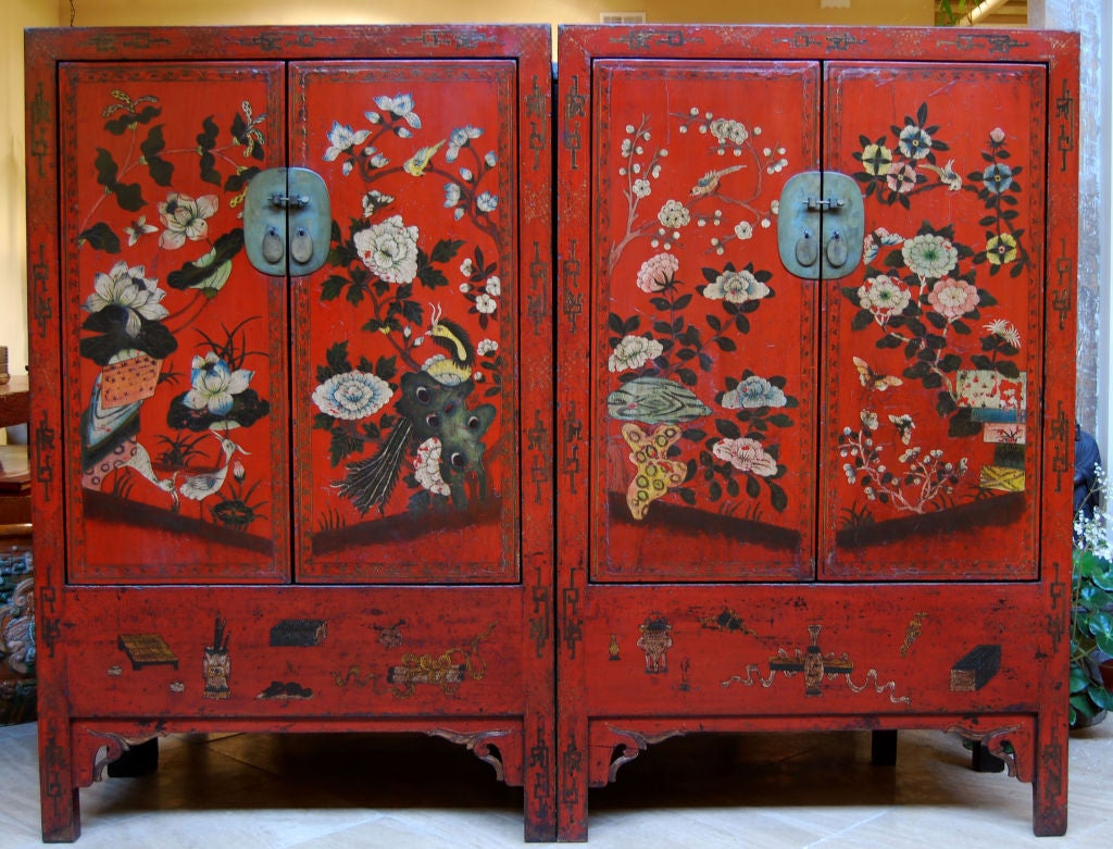 Pair of Red Lacquer Cabinets with Wucai Folk Painting at 1stdibs