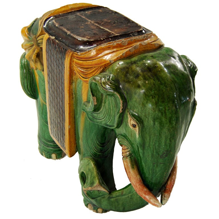 Ceramic Elephant Garden Stool 1