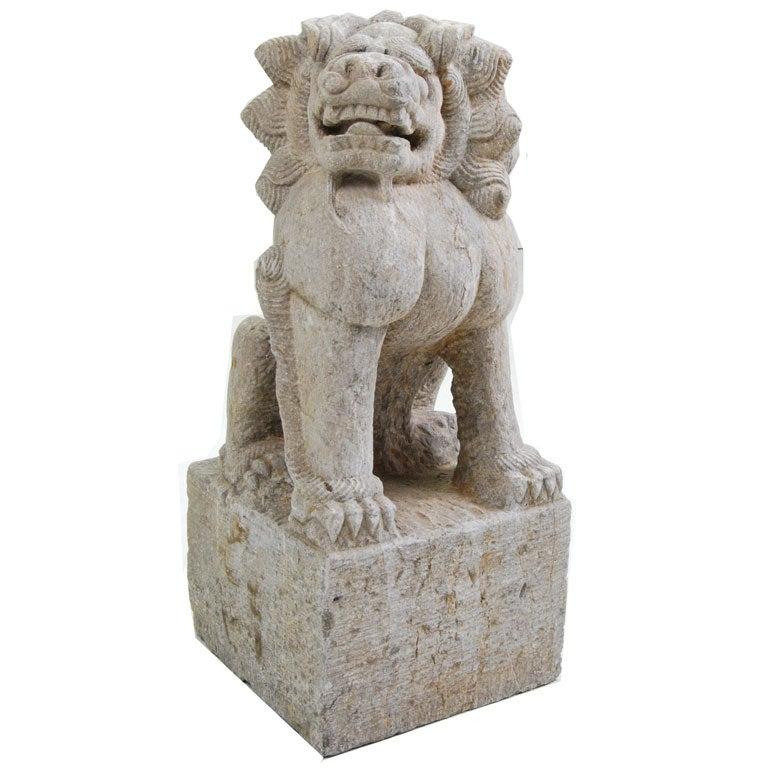 Carved limestone fu dog at stdibs