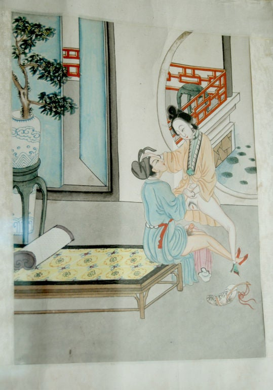 19th Century Chinese Erotic Pillow Book For Sale