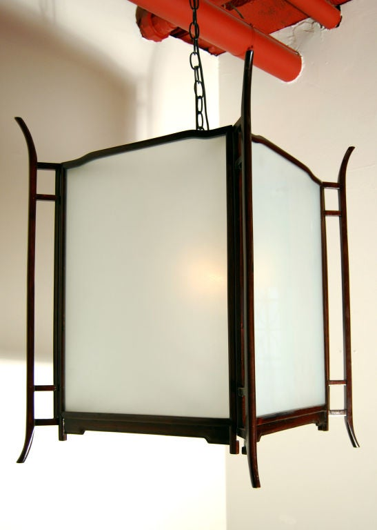 Chinese Rosewood Frosted Glass Lantern
