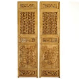 Pair of Elaborately Carved Chinese Panels