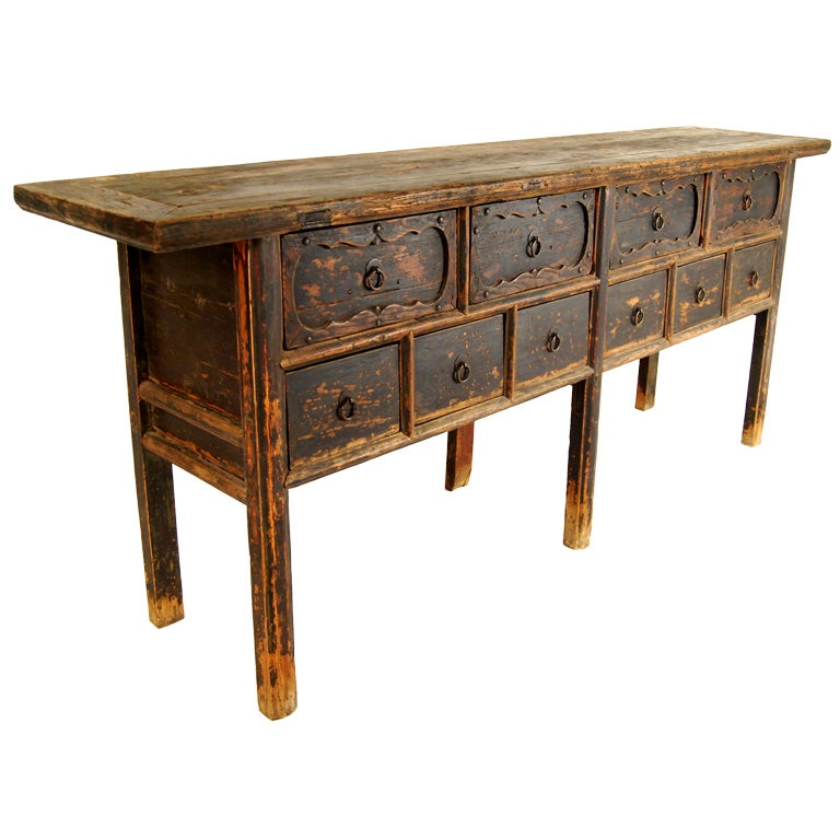 Chinese console table with drawers at stdibs