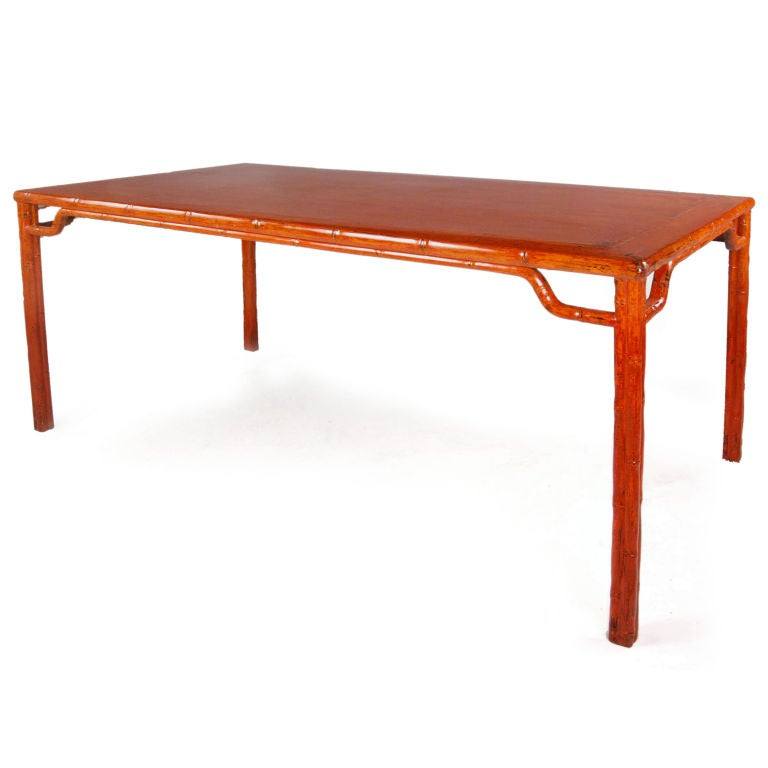 Orange lacquered dining table at 1stdibs for Lacquered furniture