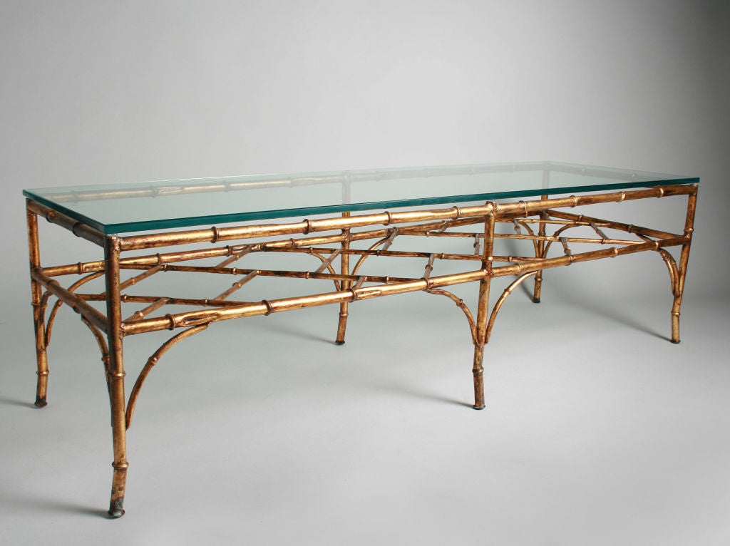 Hollywood Regency Gilt Iron Coffee Table In A Bamboo Motif At 1stdibs