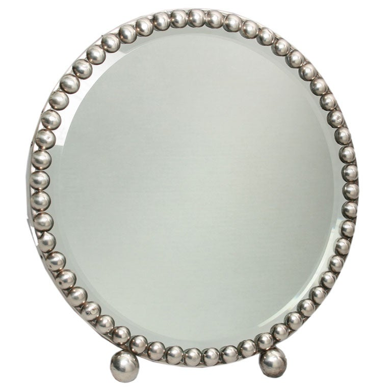 art deco silver vanity mirror at 1stdibs. Black Bedroom Furniture Sets. Home Design Ideas