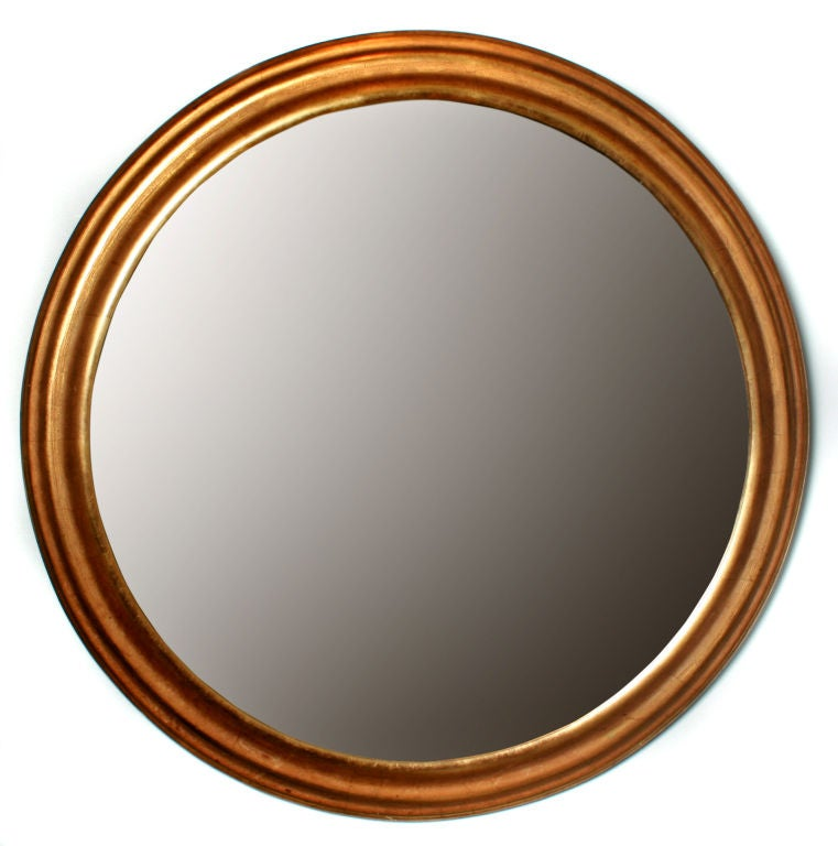 simple elegant gold leafed round mirror at 1stdibs