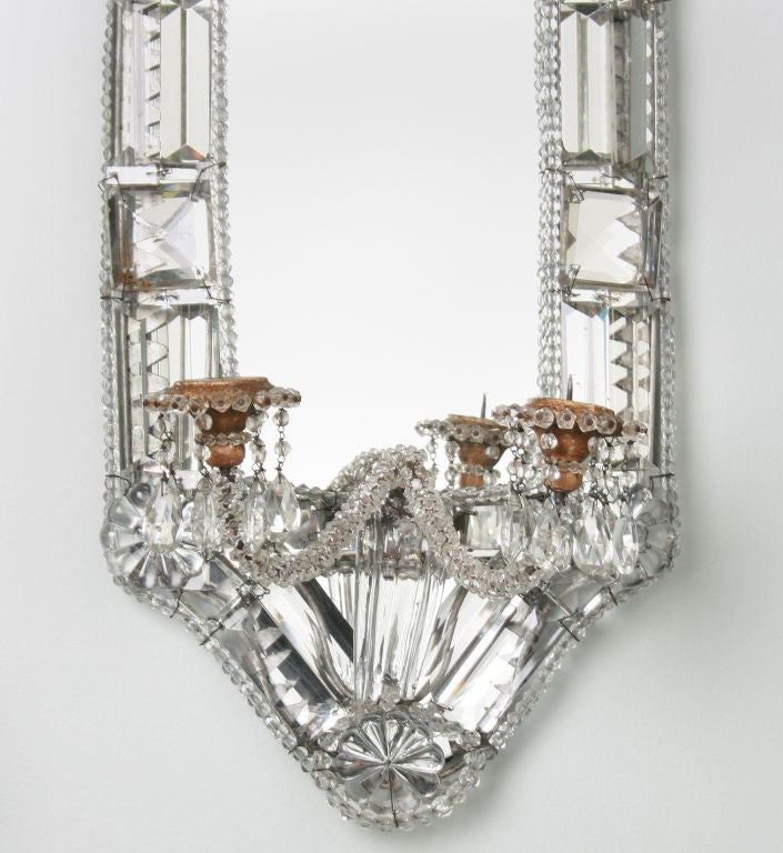 Large Crystal Wall Sconces : FABULOUS Large Pair of Crystal Mirrored Candle Sconces at 1stdibs