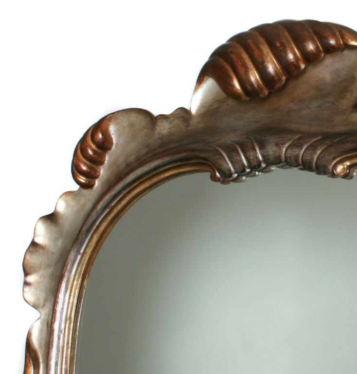Dorothy Draper Style Silver And Gold Hand Carved Shell Mirror For Sale At 1st