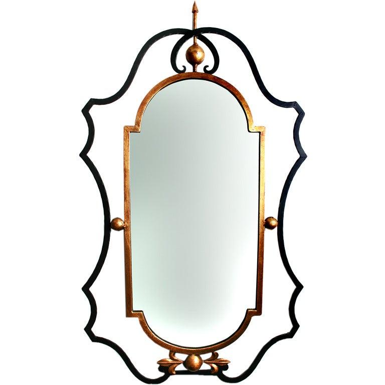Palladio gilt wrought iron mirror at 1stdibs for Wrought iron mirror