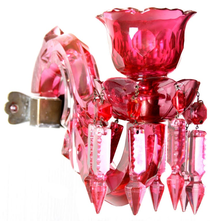 Pink Wall Sconce Candle Holder : Unusual Pair of Cut Crystal Rose PInk Candle Sconces at 1stdibs