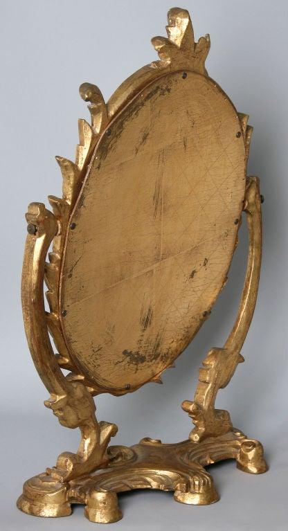 Hollywood Regency Hand Carved Gold Gilt Vanity Mirror At