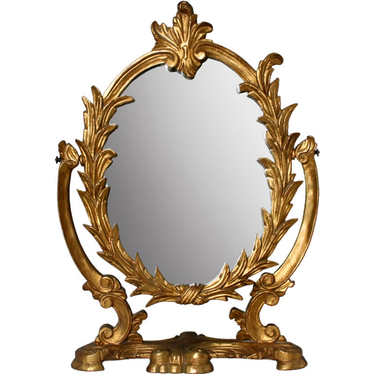 Hollywood Regency Hand Carved Gold Gilt Vanity Mirror At