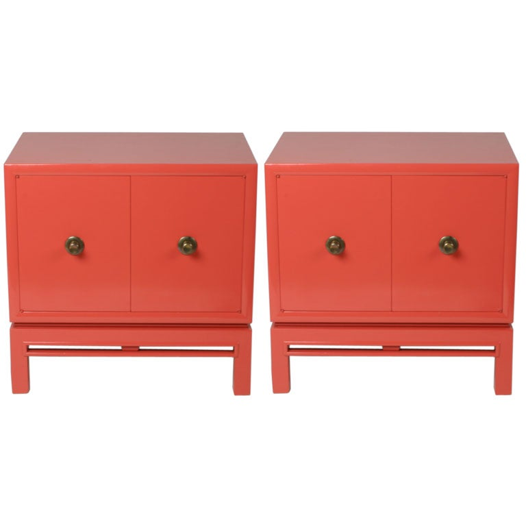 Pair of Coral Lacquer cabinets / Nightstands For Sale