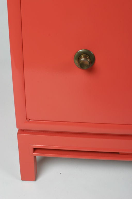 Wood Pair of Coral Lacquer cabinets / Nightstands For Sale