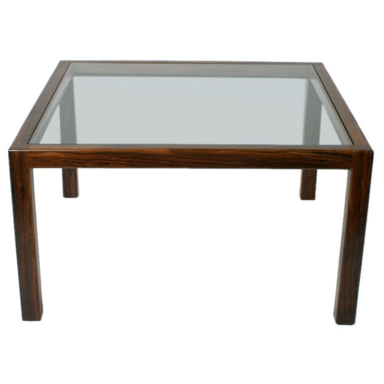 Midcentury Solid Rosewod Cocktail Table With Glass Inset At 1stdibs