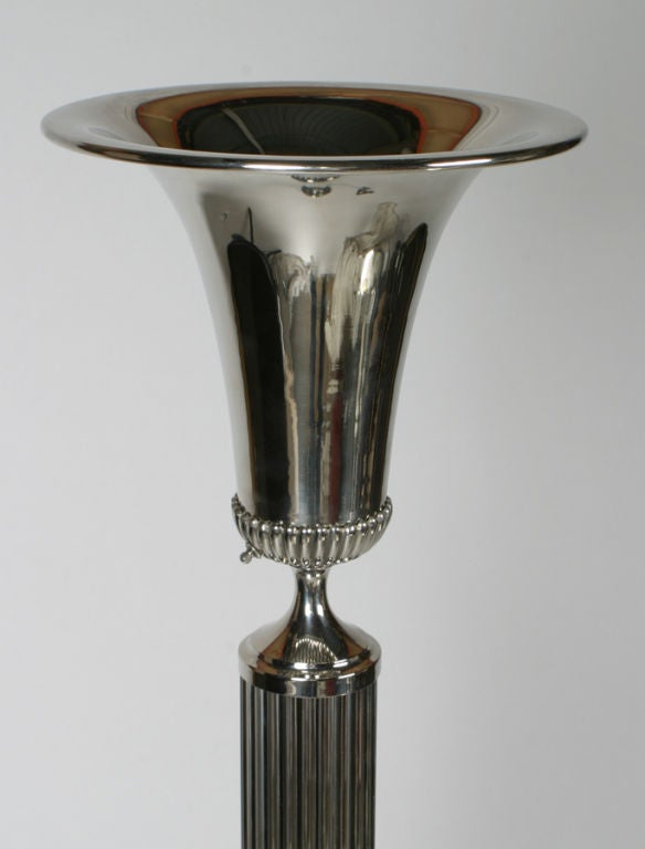 American Pair of  Art Deco Neoclassical inspired 1940's Nickel Torchieres For Sale