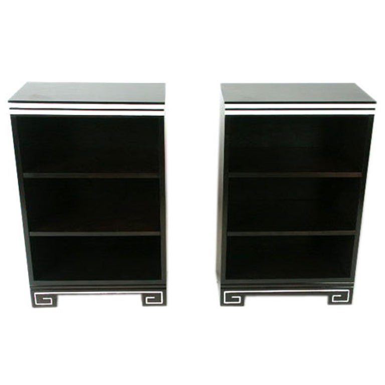 1940s Small Bookcases or Nightstands with Greek Key Bases