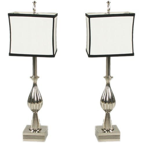 Pair of 1940s Nickel-Plated Table Lamps