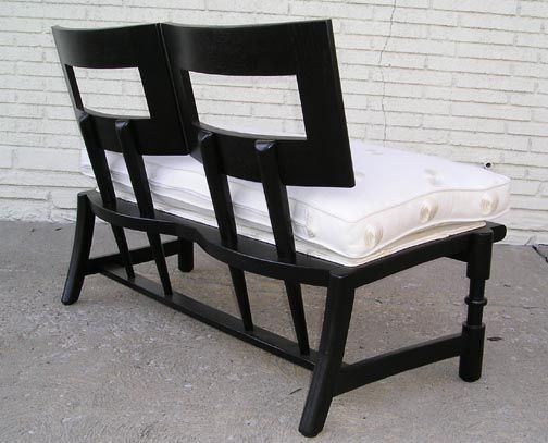 French bench with sculptural oak frames. Upholstered in ivory silk linen. Pair available, price is for each.