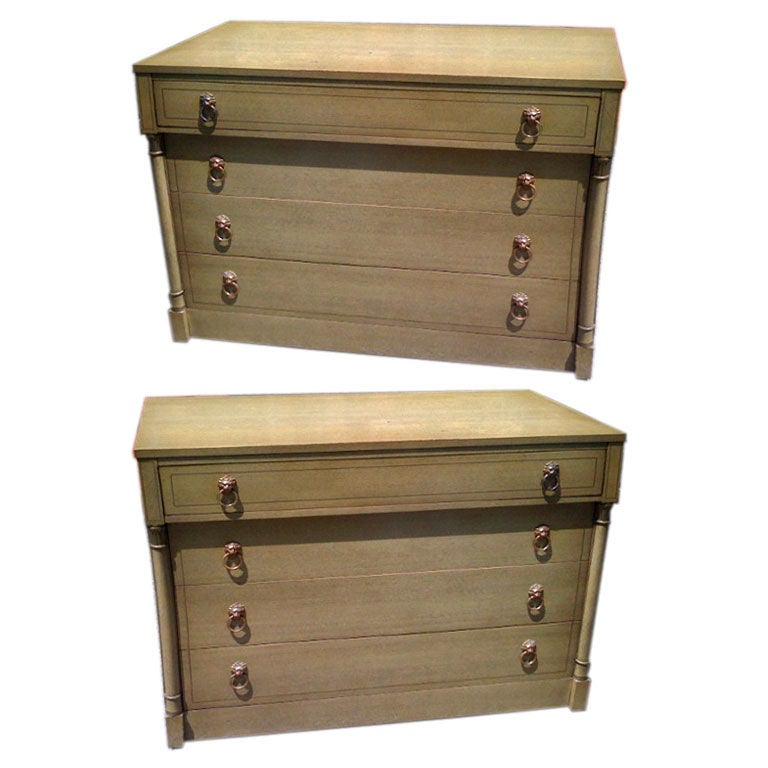 Pair of 1940's Bleached Mahogany Neoclassical chests