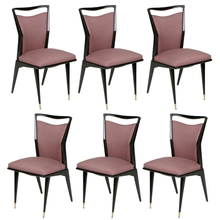 Set Of 6 Italian Dining Chairs In The Style Of Gio Ponti