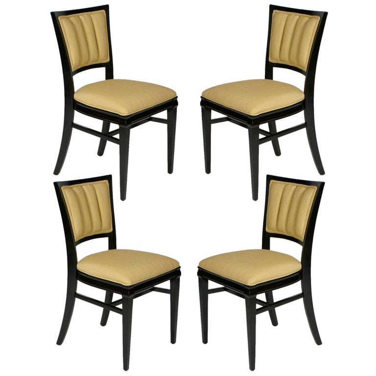 Set of Four Channel Back Dining Side Chairs, circa 1940s