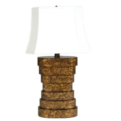 Midcentury Stepped Oval Tortoise Shell Lacquer Table Lamp For Sale