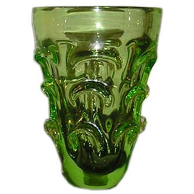 Mid-Century Green Glass Vase For Sale