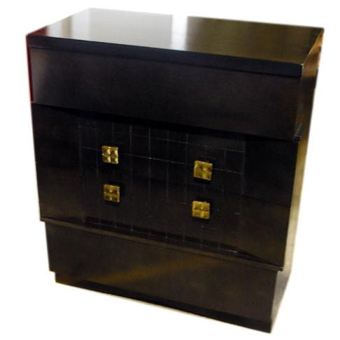 1940s Dark Mahogany Chest of Drawers with Brass Hardware
