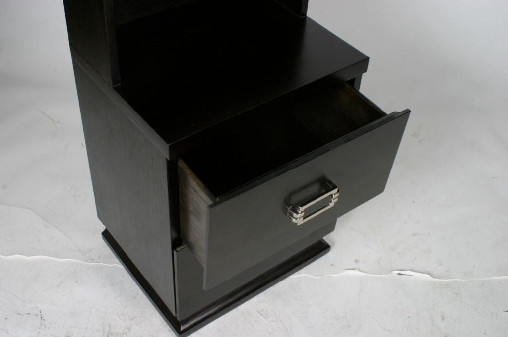 Pair of Tall 1940s Nightstands with Nickel Hardware In Excellent Condition For Sale In St. Louis, MO