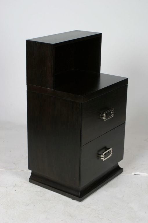 Pair of tall oak nightstands in dark brown finish with nickel hardware. Measures: Height of shelf is 27