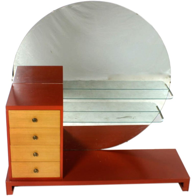 C. G. Kimerly for Widdicomb 1940s Dramatic Art Deco Vanity  For Sale