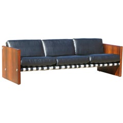 1970s Rosewood Aluminum and Black Leather Sling Sofa