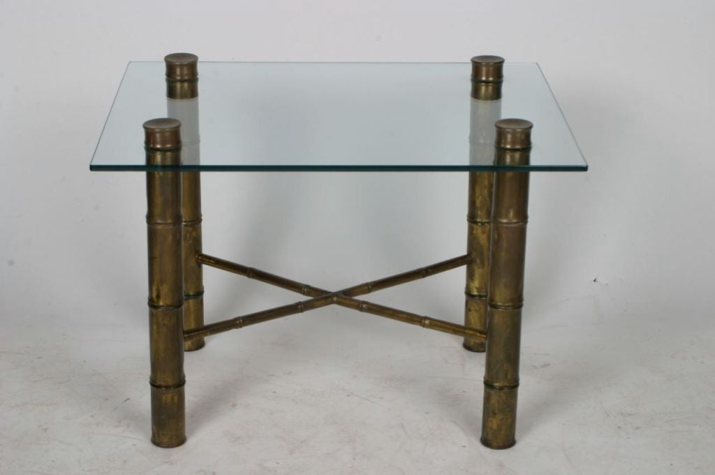 Brass bamboo occasional table with glass top for sale at for Glass top occasional tables