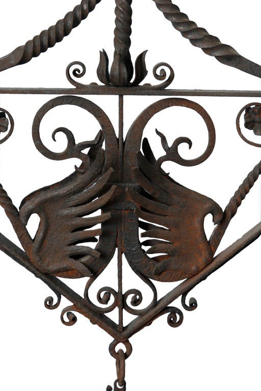 wrought iron light fixture with griffins at 1stdibs. Black Bedroom Furniture Sets. Home Design Ideas