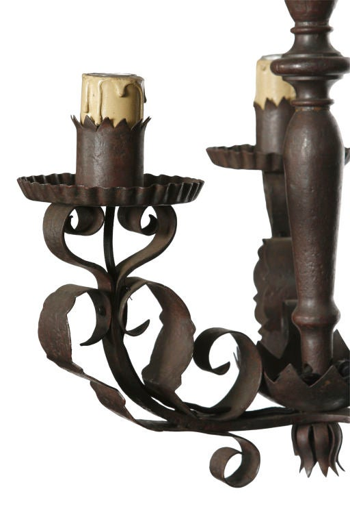 three arm wrought iron light fixture at 1stdibs. Black Bedroom Furniture Sets. Home Design Ideas