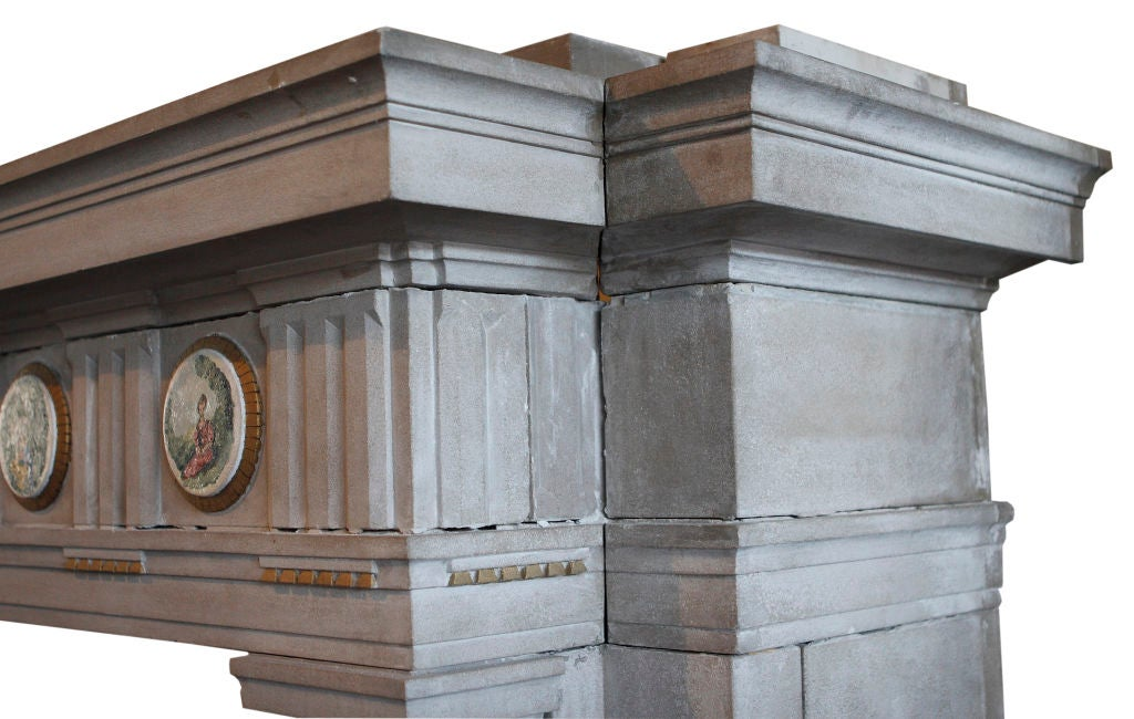 Carved Limestone Fireplace Surround In Good Condition For Sale In Chicago, IL