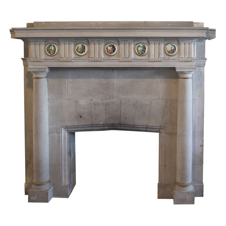 Carved Limestone Fireplace Surround 1