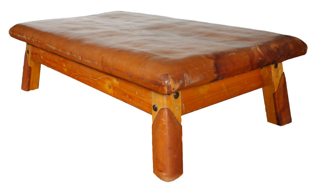 Wood and leather bench table bed at 1stdibs for Leather daybed bench