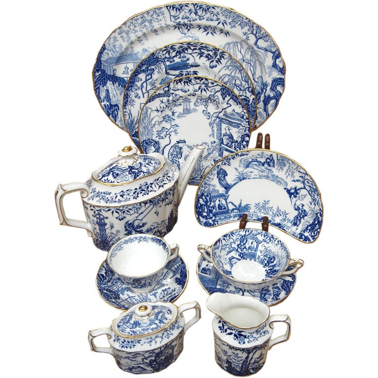 set of royal crown derby blue mikado bone china dinnerware at 1stdibs. Black Bedroom Furniture Sets. Home Design Ideas